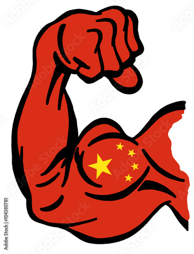 Biceps Painted With Colors Of Chinese Flag As Symbol Of Power Of