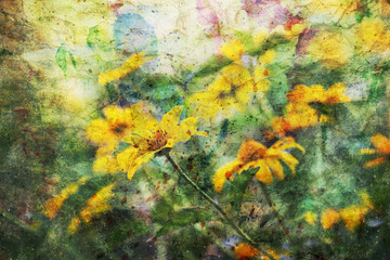 artwork with cute yellow coreopsis flowers