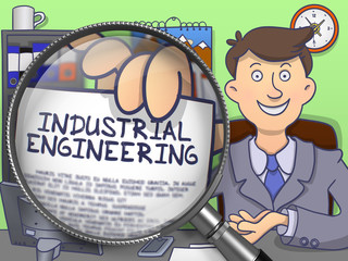 Industrial Engineering. Paper with Concept in Man's Hand through Lens. Multicolor Doodle Style Illustration.