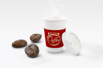 Coffee in cup on light background with large grain