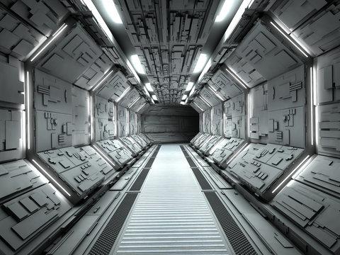 Futuristic spaceship interior 3d rendering