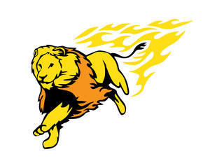 Running lions And Flame