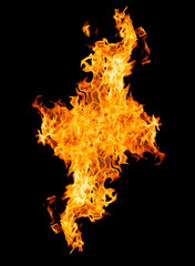 Fire flames - isolated on black background
