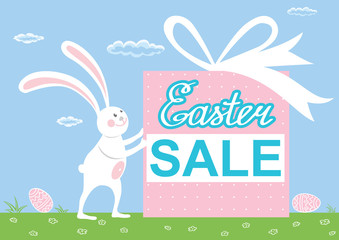 Cute easter bunny with gift. Easter rabbit. Rabbit animal vector for card, invitation, banner or flyer. Vector illustration.