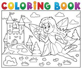 Coloring book fairy near castle