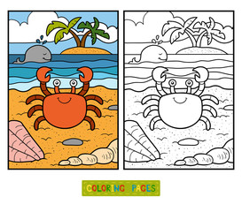 Coloring book for children (crab and background)