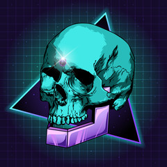 sci-fi skull vector