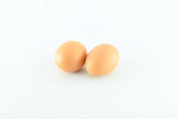 Eggs on white background