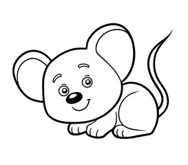 Coloring book, coloring page (mouse)