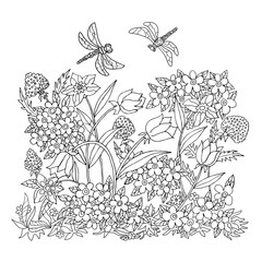 Illustration with flowers for coloring