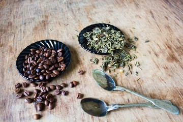 Coffee beans and green tea leaves