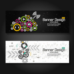 Technology banner vector template with gear