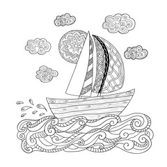 Illustration with sailing boat for coloring