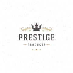 King Crown Logo Template. Vector Design Element Vintage Style for Logotype