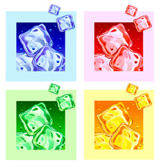Set Colored ice cubes