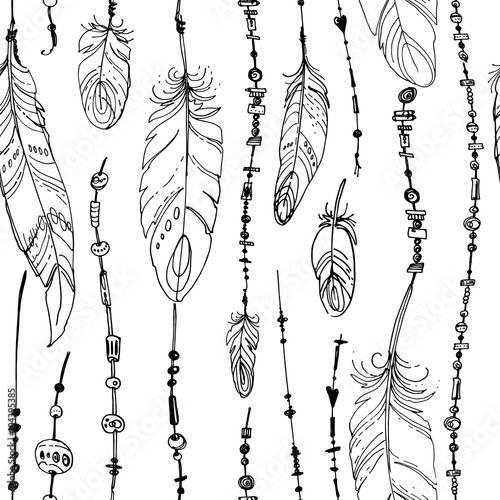 Dreamcatcher, Set of ornaments, feathers and beads. Native american ...