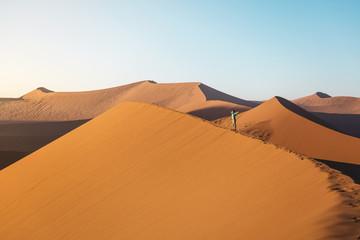 Namibia, Namib Desert, Sossusvlei. Woman with raised arms on Dune 45 at sunrise
