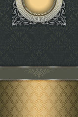 Wall Mural - Vintage background with decorative border and ornament.