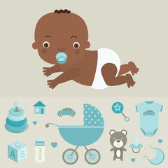 Cute baby boy and baby goods. Vector illustration