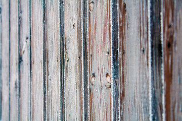 Wooden fence covered crystals of ice. Background/texture