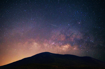 Landscape mountain with Milky Way galaxy Universe