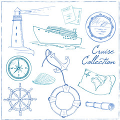 Marine and vacation isolated doodles elements background.