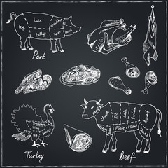 Chalk Illustration of a vintage graphic elements on the menu for