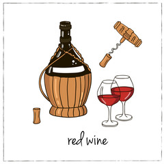 Red wine. Collection of wine.  Vector illustration