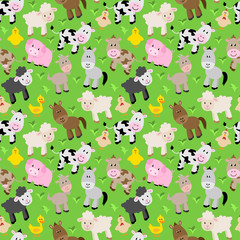 Seamless, Tileable Farm Animal and Barnyard Background Pattern