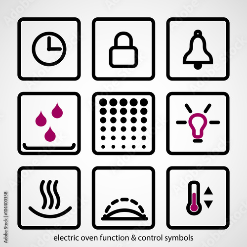 Electric Oven Function Control Symbols Stock Image And Royalty