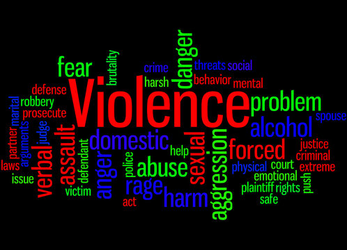 Violence, word cloud concept 5