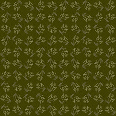 Peaceful conceptual pattern. Golden dove of peace against the green backdrop with laurels seamlessly tiled abstractive ornament. Concept. Made by means of openclipart.org elements.