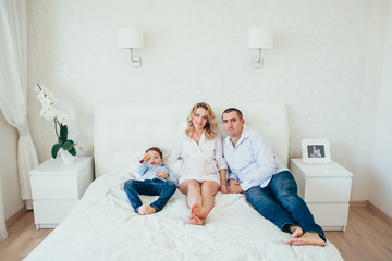 happy family.a pregnant woman. couple