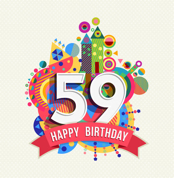 Happy birthday 59 year greeting card poster color