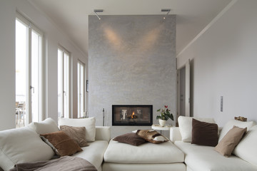 Interior of modern flat, Living room with white couch