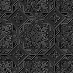 Seamless 3D elegant dark paper art pattern 238 Cross Star Flower