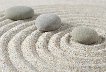 Poster de jardin Zen pierres a sable Stepping zen stones on a sand