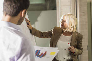 Businesswoman explaning her business partner a graph