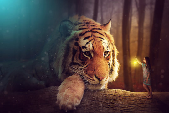 A fantasy world - a woman and a giant tiger