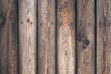 Vintage wood background. Grunge wooden weathered oak or pine textured planks. Brown rustic fence.