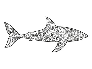 Shark coloring book for adults vector