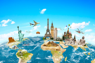 Famous monuments of the world surrounding planet Earth