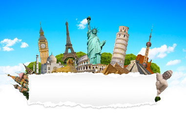 Famous monuments of the world with blank torn paper