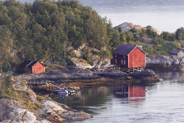 Norway landscape with its typical fishing huts Wall mural