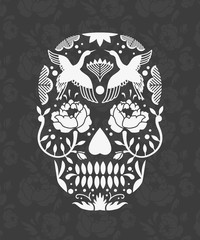 Mexican sugar skull poster or t-shirt print with flower pattern.