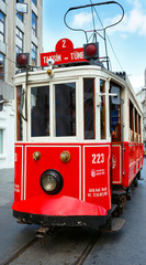 Red retro tram on Taksim Istiklal Street