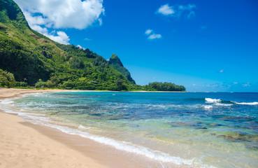 Tropical exotic beach in Haena, Kauai Island, Hawaii