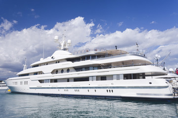 Super Yacht mooring in French Riviera south of France harbour