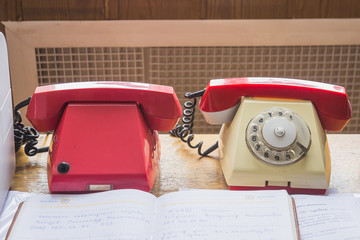 Vintage telephones on the table