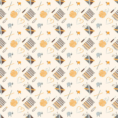 Seamless pattern on a knitting theme, accessories